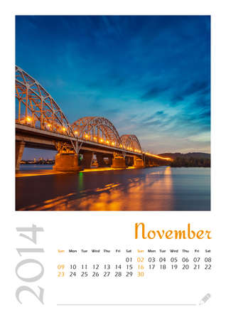 Photo calendar with minimalist landscape 2014  November Stock Photo