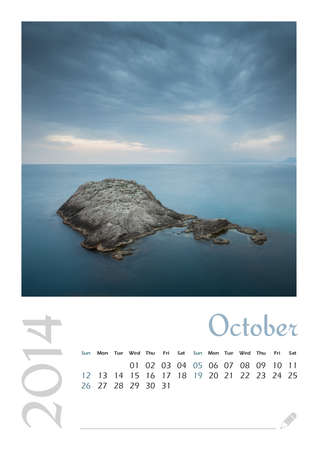 Photo calendar with minimalist landscape 2014  October