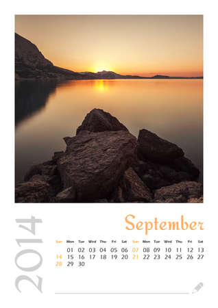 Photo calendar with minimalist landscape 2014  September