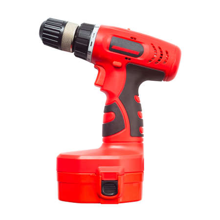 Isolated electric drill power tool in red