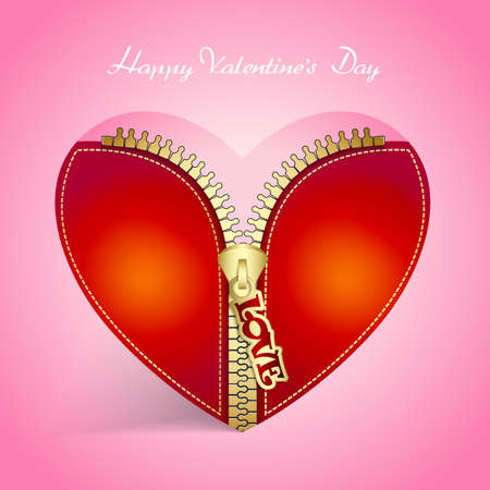 Valentines Day creative greeting card with heart with zipper Illustration