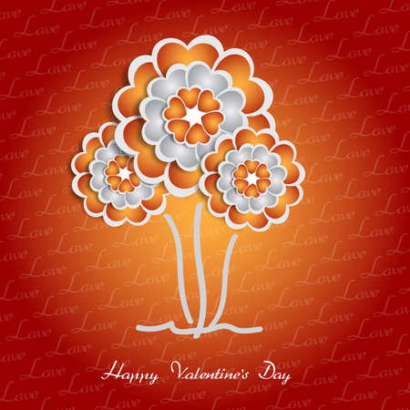 creative background: appy Valentine s Day lettering Greeting Card on red background with heart stylized flowers