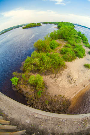 View of Dnieper river in Kiev through fish eye lens Stock Photo