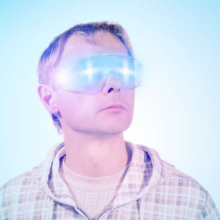 abstract futuristic portrait of man with glasses photo