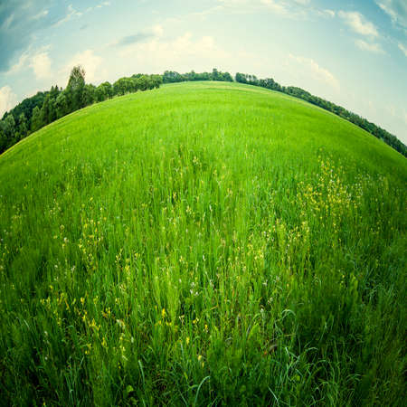 beautiful landscape through fish eye lens photo