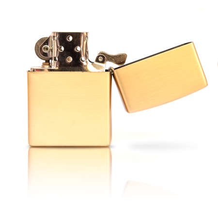 template of vintage gold style lighter for branding on a white background