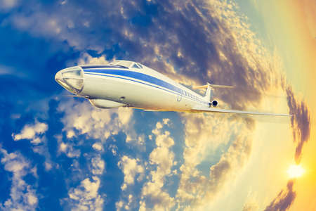 passenger aircraft in flight Stock Photo