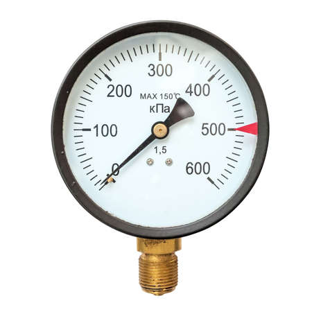 gauges: Old circular industrial pressure gauges Stock Photo