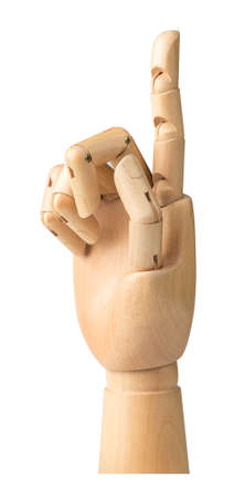 handbreadth: Wooden hand isolated on a white background