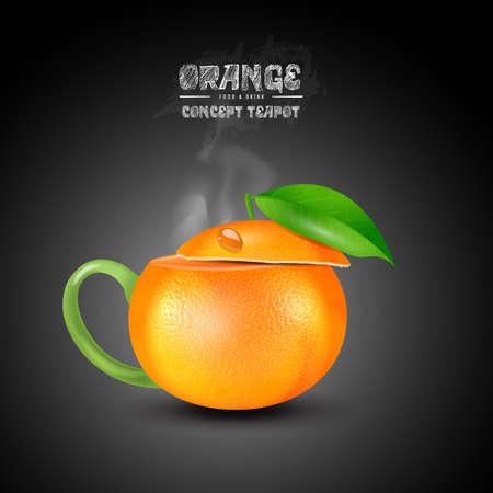 vector concept orange teapot on black background