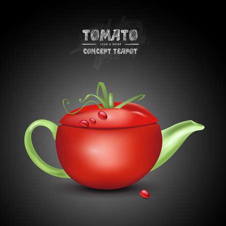 vector concept tomato teapot on black background Stock Photo