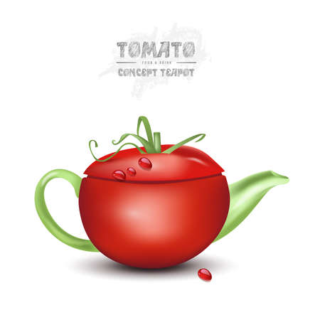 vector concept tomato teapot on white background