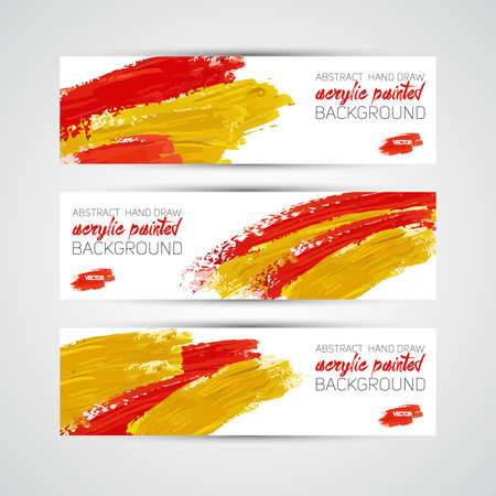 Vector Abstract acrylic painted brush banner on white background Vector