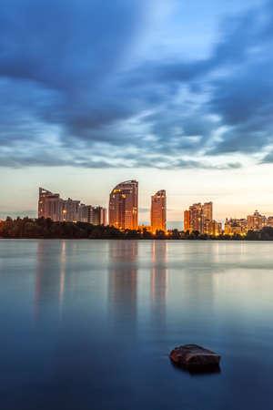 Kiev city skyline by night Stock Photo