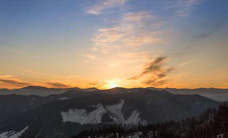 Carpathians mountain landscape under morning sky. Ukraine.