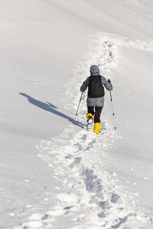 Hiker in winter mountains Stock Photo