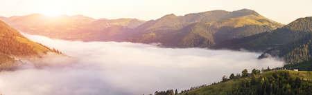 panorama of beautiful sunny day is in mountain landscape. Carpathian, Ukraine.