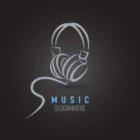 Headphones vector as music and entertainment logo