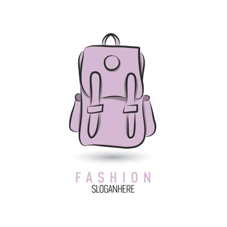 Hand-drawn bag icon or logo template. Backpack. Sketch. Vettoriali