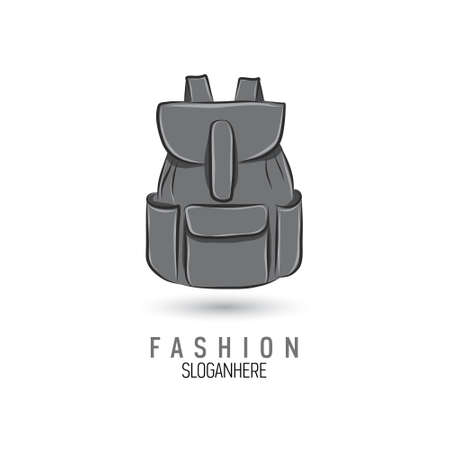 Hand-drawn bag icon or logo template. Backpack. Sketch. 向量圖像
