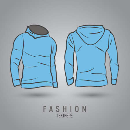 Hand-drawn vector hoody template mock up and showcase for designer, front and back view Illustration