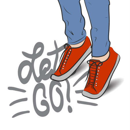 Vector illustration top view on sneakers