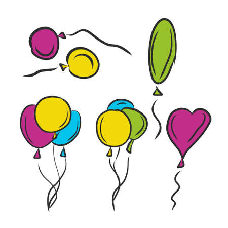 Set of colorful balloons, hand drawing vector illustration. Illustration