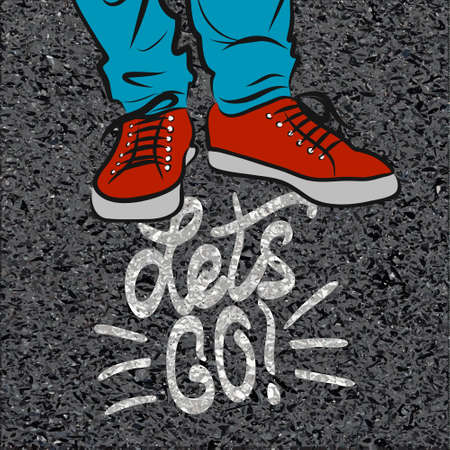 Vector illustration top view on sneakers.