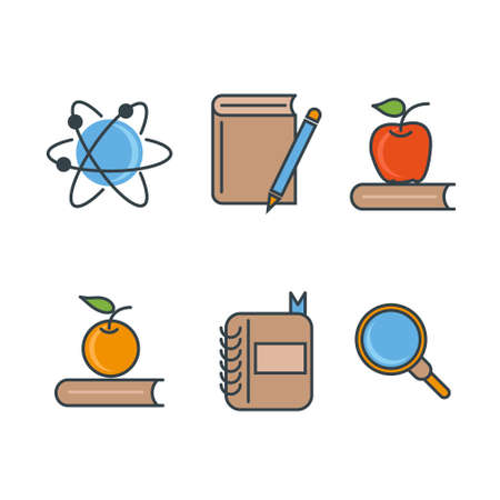 School and education line icons illustration.