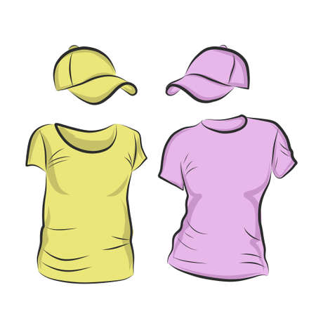 Hand-drawn vector t-shirt template mock up and showcase for designer, isolated on white background.