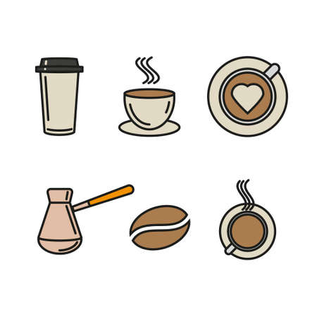 Vector set of coffee icons. Illustration