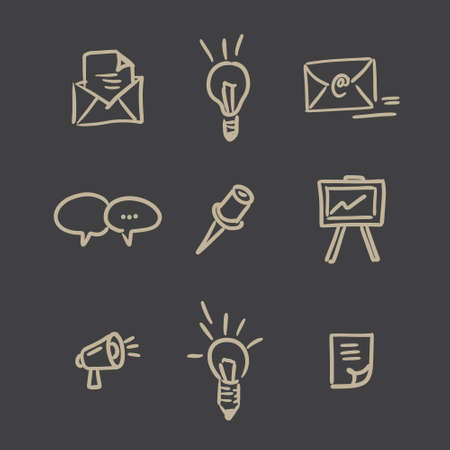 Hand drawn vector business icons set on black background