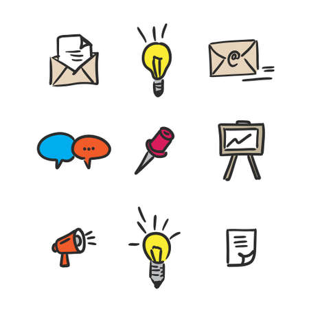 Hand drawn vector business icons set on white background Illustration