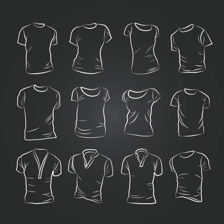 Hand-drawn vector t-shirt template mock up and showcase for designer, isolated on black background. Illustration