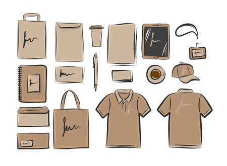 Hand-drawn vector template for corporate branding identity from kraft cardboard paper.