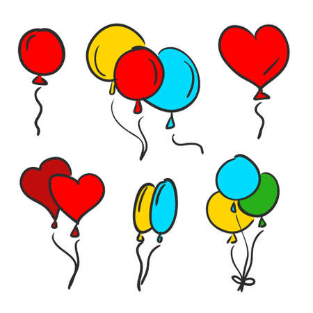 Set of colorful balloons, hand drawing vector illustration