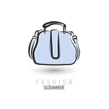 Handgetekende tas pictogram of logo sjabloon. Handtas. Schetsen.