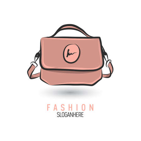 Hand-drawn bag icon or logo template. Handbag. Sketch.