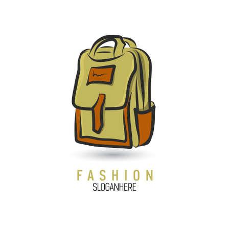 Briefcase icon in doodle sketch lines. Illustration