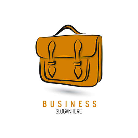 Hand-drawn bag icon or logo template. Briefcase. Sketch.