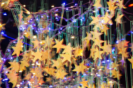 reflectance: Festive Background With Natural Bokeh And Bright Golden Lights. Vintage Magic Background With Color