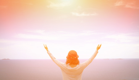 worship praise: A woman thank God Stock Photo
