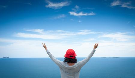 women health: A woman thank God Stock Photo