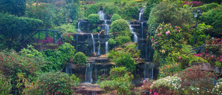 Flower gardens and waterfalls