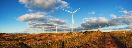 풍력 발전소의 파노라마보기는 풍력 발전으로 전기를 생산합니다. 스톡 콘텐츠
