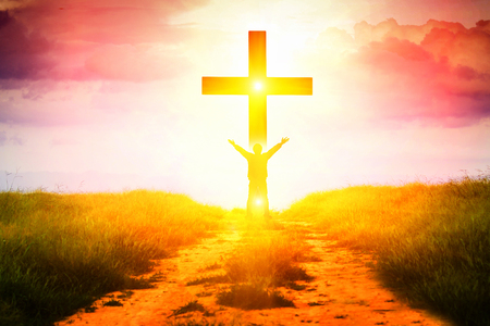 Het concept van een gelovige in Christus is een overwinning. Stockfoto