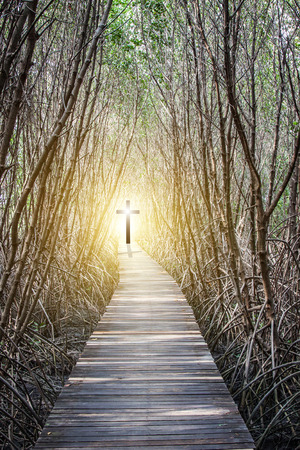Concept of the Way to the Cross of Jesus Christ 스톡 콘텐츠