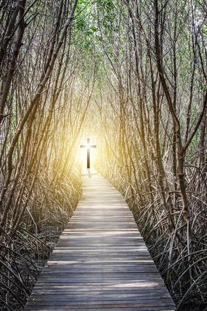 Concept van de weg naar het kruis van Jezus Christus