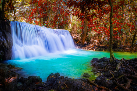 waterfall and leaves change color.