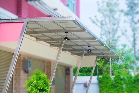 Awning in front of the building 免版税图像
